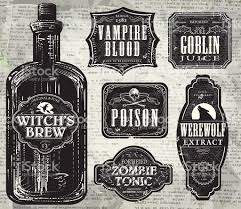 Printable Halloween Drink Labels by Set Of Halloween Printable Black And White Labels With Bottle