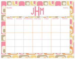 large desk calendar retro print monthly calendar or weekly calendar personalized desk calendar
