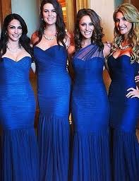 royal blue mermaid bridesmaid dress sleeve ruched plus size