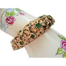 emerald diamond gold bracelet images 14 kt gold bracelet emerald diamond estate antique bracelet jpg