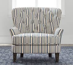 Antique Upholstered Armchairs Cardiff Upholstered Tufted Armchair With Nailhead Antique Stripe
