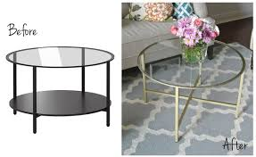 round gold glass coffee table ikea vittsjo coffee table before and after gold spray paint metal