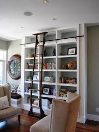 custom rolling ladder bookcase home design ideas pictures ladders