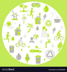 themed signs green ecology and earth protection themed signs vector image