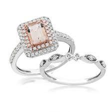 morganite wedding set morganite and diamond wedding set in 14 kt white and pink gold