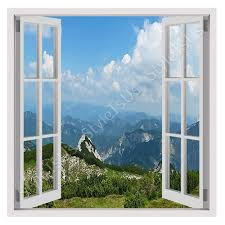 window posters 3d window alps mountains canvas posters prints stickers