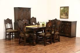 sold english tudor carved oak 1925 antique dining set table u0026 8