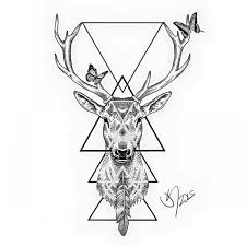 nice dotwork deer with feather and flying butterflies tattoo