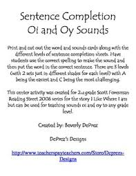 sentence completion oi and oy sounds by deprez u0027s designs tpt
