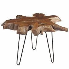 mari round teak slab coffee table with metal legs dark brown