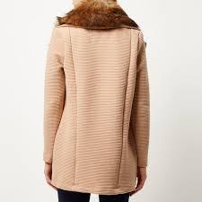 river island beige jersey faux fur trim jacket in brown lyst