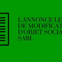 changement de si e social sarl l annonce légale de modification de l objet social d une sci