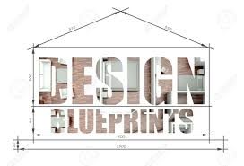 design slogan in modern house blueprint stock photo picture and