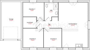 plan de maison de plain pied avec 3 chambres plan maison plain pied 3 chambres chambre avec plan maison pas cher