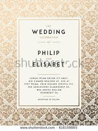 for wedding vintage wedding invitation template modern design stock vector