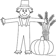 scarecrow with wheat sheaf and pumpkin coloring page thanksgiving