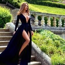 a line deep v neck long sleeves navy blue velvet prom dress with