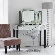 Glass Vanity Table With Mirror Bedroom Design With Drawers Mirrored Vanity Set 3