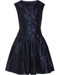 dolce u0026 gabbana gathered silk chiffon dress in blue lyst