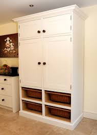 big white pantry cabinet for kitchen with open storage aside cow