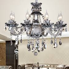 Colored Chandelier Colored 8 Light Gray Candle Style Chandelier