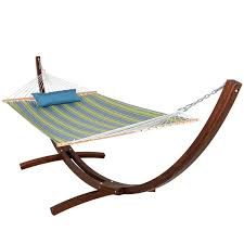 12 ft wood arc hammock stand with 2 person double layer polyester