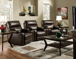 theater seating group with 3 wall recliners and cup holders by