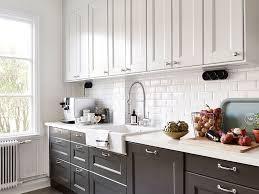 kitchen cabinets white top gray bottom kitchen cabinets white on top grey on bottom with black
