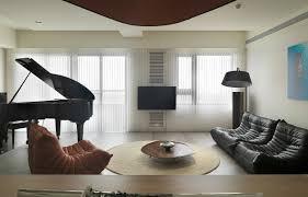 orange black low level seating interior design ideas