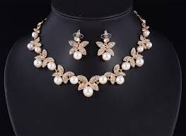 white crystal necklace set images White crystal butterfly design earrings and pearl necklace set jpg