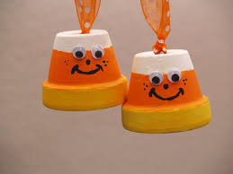 halloween clay pot crafts candy corn and bat halloween ornaments housewife eclectic
