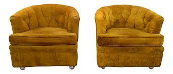 Tub Chairs Barker Bros Chartreuse Boucle Tub Chairs A Pair Chairish