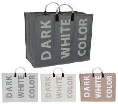 Popup Laundry Hamper by 3 Section Laundry Bag Basket Canvas Colour White Dark Storage