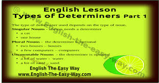 types of determiners english grammar english the easy way