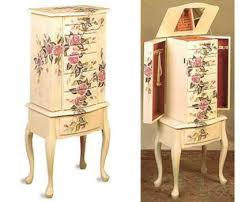 Whitewash Jewelry Armoire Amazon Com Wood Jewelry Armoire Dresser Chest With Hand Painted