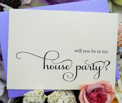 Invitation Note Cards Will You Be In My House Party Card Shimmer Envelope Wedding