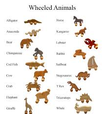 wooden animals on wheels toys made in america