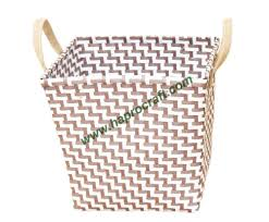 wicker basket with leather handles round plastic woven basket for storage with leather handle from
