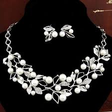 silver pearl necklace set images Fashionable silver and pearl jewellery set with statement pendant jpg