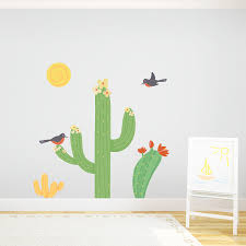 cacti birds printed wall decal