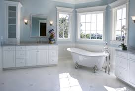 Gray Blue Bathroom Ideas Dark Brown Varnished Wall Mounted Wooden Mirror Frame Glass