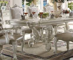 versailles dining room acme acme versailles pedestal dining table in bone white 61130