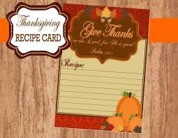 thanksgiving recipe card holidays sukkot favor tags pumpkin