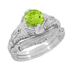 peridot engagement ring deco engraved filigree 1 5 carat peridot engagement ring in 14