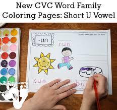 free cvc word family coloring pages short u vowel ug un ut