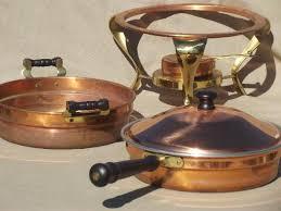 vintage copper u0026 brass buffet serving set chafing dish u0026 large bowl