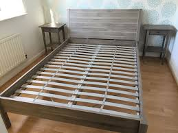 Ikea Bed Table by Grey Ikea Double Bed Frame Mattress And Bedside Tables In