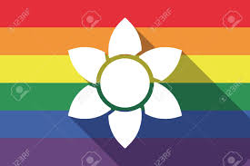 Flag Flower Illustration Of A Long Shadow Pride Flag With A Lotus Flower