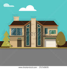 modern family house modern family house garage on beautiful stock vector 371740876