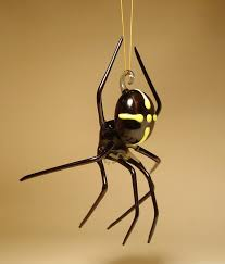 blown glass figurine insect black hanging spider ornament